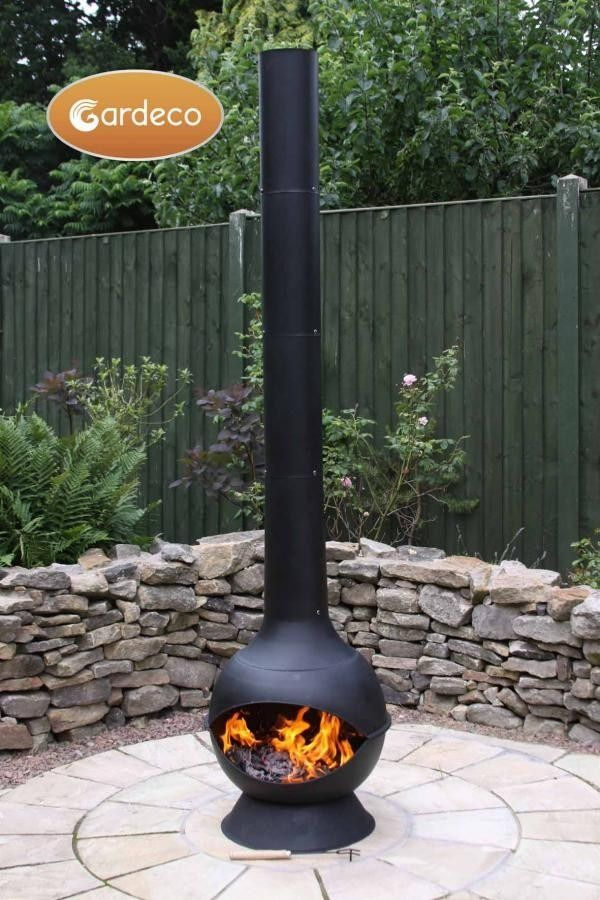Gardeco Kaska Cast Iron Chiminea Contemporary Range Backyard Fire Outdoor Fire Pit Fire Pit