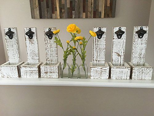 White Washed Bottle Opener Cap Catcher – Wall Mounted – Wedding Gifts For Friends