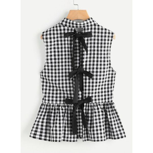 Split Bow Back Button Up Gingham Peplum Blouse (30 CAD) ❤ liked on Polyvore featuring tops, blouses, black and white, bow blouses, black white top, gingham top, black and white peplum top and white and black peplum top