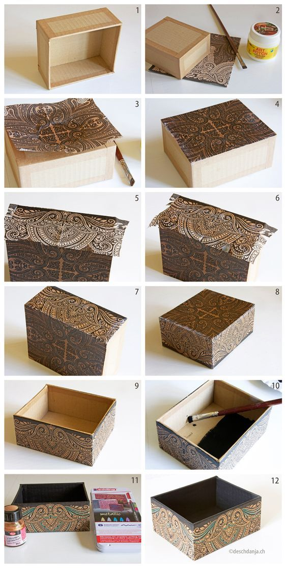How to decorate a cardboard box with napkin technique www for Cardboard cigar box crafts