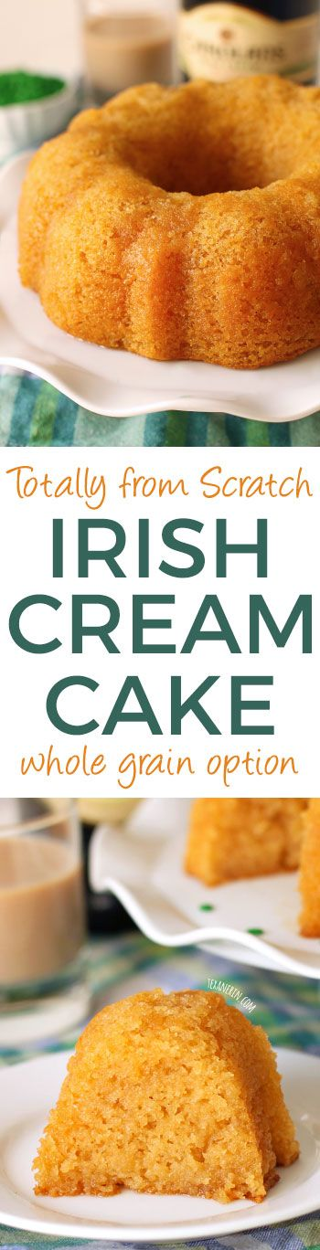 Totally From Scratch Irish Cream Cake – no cake mix and no pudding mix! Can be made 100% whole grain or with regular all-purpose flour.