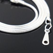 2016 aliexpress mais barato colar de prata 41 cm fecho da lagosta de prata colar de corrente de cobra para mulheres moda homens(China (Mainland))