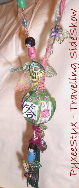 Celebrate! Girls Just Wanna Have Fun necklace - paper mache, sari silk, enamel, glass leaves, antique Chinese bells