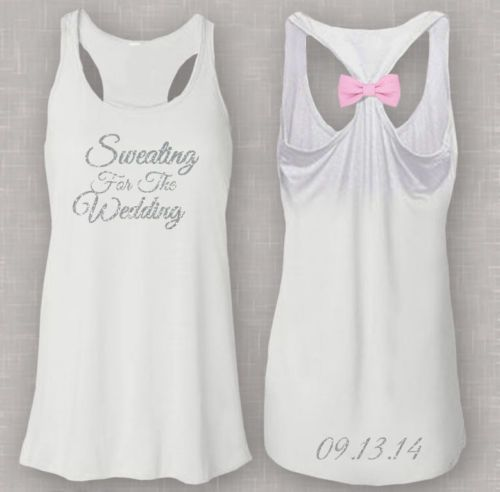 Sweating for The Wedding Flowy Bow Womans Workout Tank Top