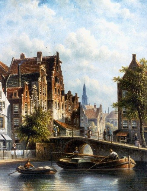 Johannes Franciscus Spohler (Rotterdam 1853-1894 Amsterdam) A sunlit town, with the Zuiderkerk, Amsterdam - Dutch Art Gallery Simonis and Buunk Ede, Netherlands.