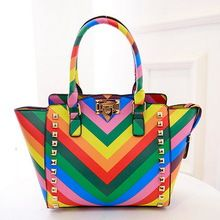 2015 new women bag wave hit the color handbag bat wings rainbow bag  rivet women messenger bags