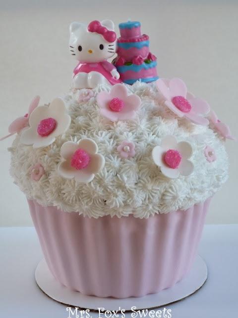 Hello Kitty Giant Cupcake Cake