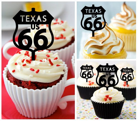 Ca413 New Arrival 10 pcs/Decorations Cupcake Topper/ Route 66 hiighway texas /Wedding/Props/Party/Food & drink/Vintage/Fun/Birthday/Shop