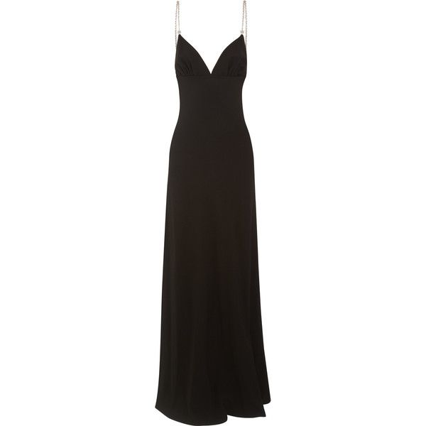 Prada Crystal-embellished crepe gown ($3,205) ❤ liked on Polyvore featuring dresses, gowns, long dresses, prada, vestidos, black, embellished gown, long sparkly dress, strap dress and prada evening gowns