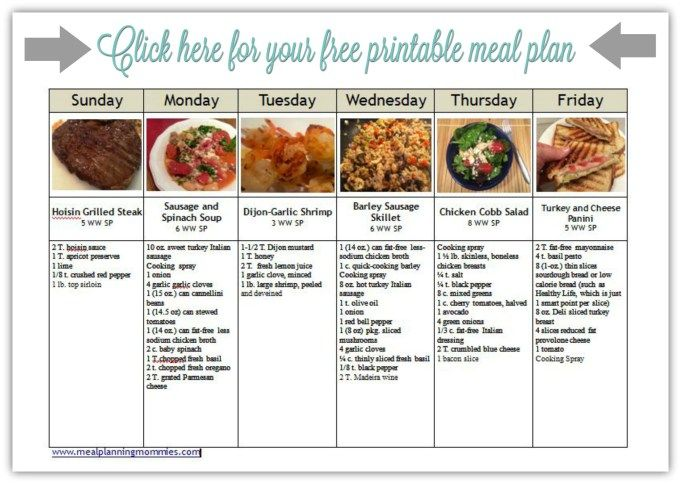 Galerry weight watchers printable meal plan