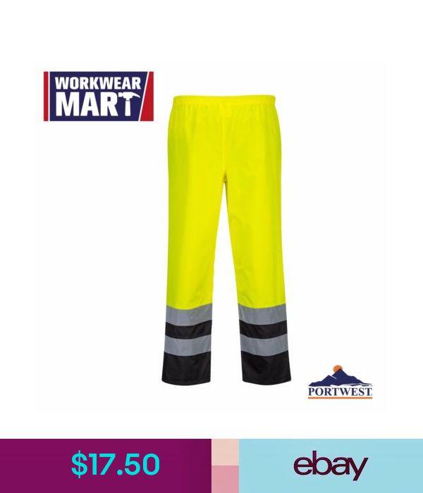 PortWest Men Hi-Vis Two Tone Traffic Trousers Multi Color and Size S486