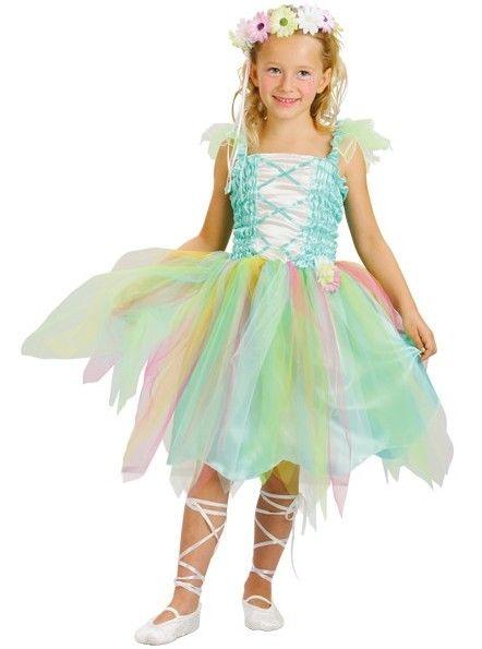 Feeënkostuum voor meisjes: Dit feeënkostuum voor meisjes bestaat uit een bovenstuk met bretellen, een nepbovenstuk en kleine pofmouwen en een rok bedekt met veelkleurige tule voor een volumineus effect. Het kostuum bevat...
