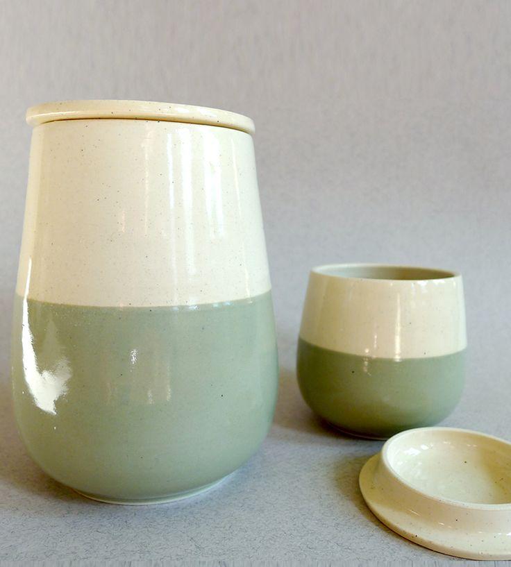 Beautiful mint + cream ceramic jar set