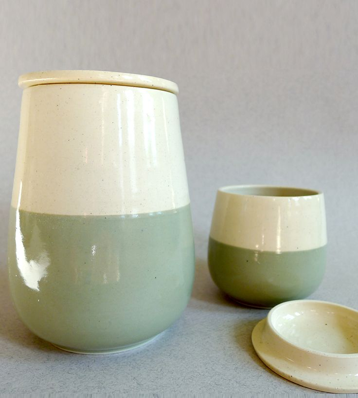 Beautiful mint + cream ceramic jar set