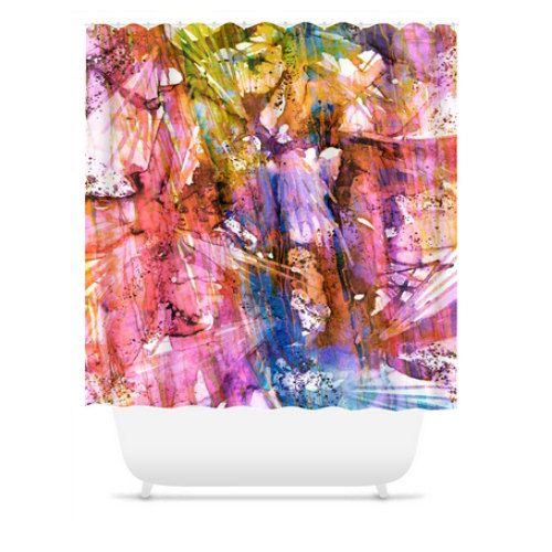 BIRDS OF PREY Rainbow Colorful Art Painting Shower Curtain by EbiEmporium, #colorful #homedecor #decorative #rainbow #modern #pastel #feminine #pink #lavender #purple #multicolor #abstract #bathroom #EbiEmporium #whimsical #spring #summer #modern