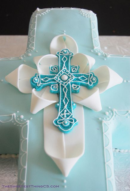 """Cute way to """"dress"""" the cross, using my FHC cross mold instead...(Christening Cross Cake by TheSweetestThingCS, via Flickr)"""