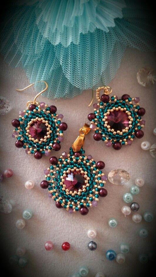 Rivoli and toho earrings