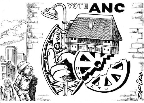 Vote ANC - a lovely new #ANC emblem courtesy of Zapiro, and Number One.