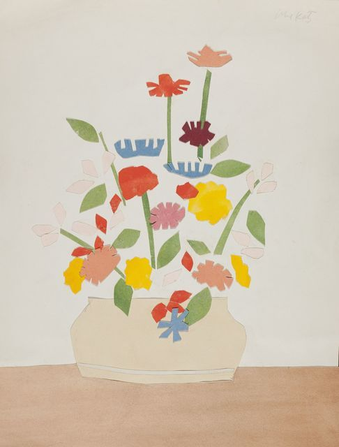 """Wildflowers in Vase by Alex Katz, 1954-1955, collage with watercolored paper, 11 × 8-2/5"""" (27.94 × 21.27 cm) 