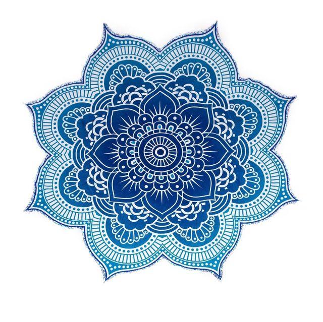 Gran Ronda Flor de Loto Mandala Tapiz Roundie Boho Hippie Gypsy Playa Al Aire Libre Tiro Mantel Toalla Colgando Océano Azul Tu-en Tapicería de Textil Para Hogar en m.spanish.alibaba.com.