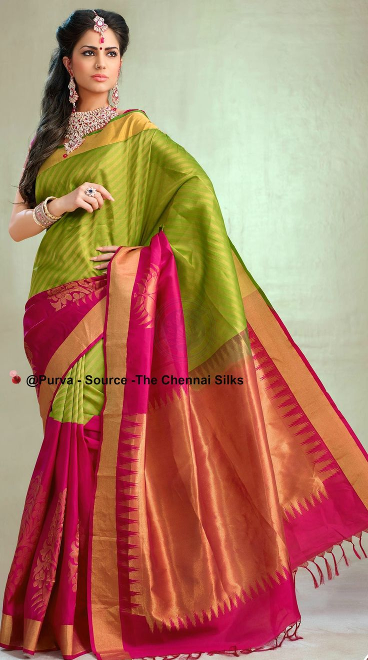 ❀Purva❀  - Green & Pink Silk Saree - Source - The Chennai Silks