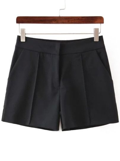 hohe Taille Shorts-schwarz