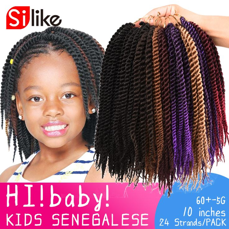 24 Roots New Micro Crochet Braid Hair Extensions 10'' Kids Crochet Braids Hair Senegalese Twist Braiding Hair For Black Children