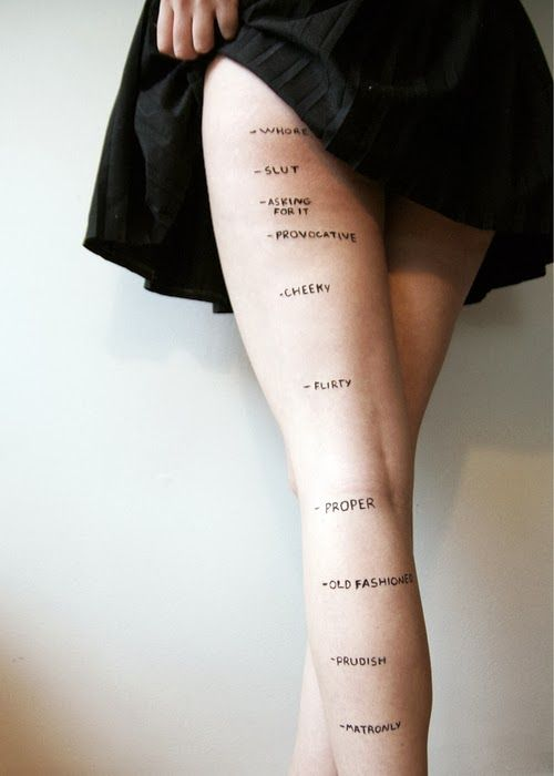 "Piece entitled ""Judgements"" by a art student, Rosea Lake reflecting how women are judged based on skirt length."