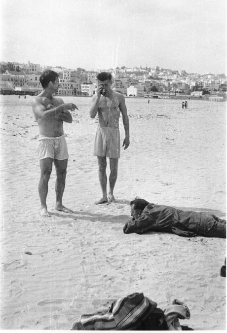 Jack Kerouac, Peter Orlovsky, William S. Burroughs, late March 1957, shortly after Allen & Peter had arrived from the US. Kerouac was soon to leave for travels in Europe, and Allen & Peter would stay on in Tangier till June. (c) Allen Ginsberg Estate.
