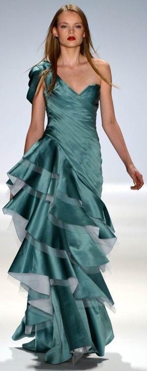 Carlos Miele Spring Summer ~ green floor length dress with ruffles