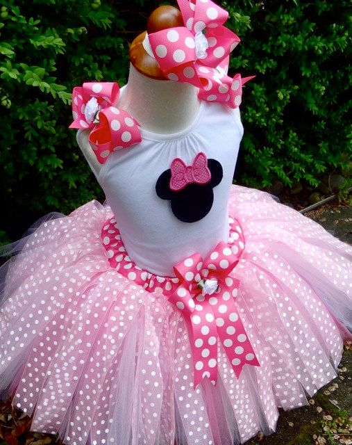 Free Shipping...Minnie Mouse Pink Polka Dot birthday tutu Outfit...Sewn Tutu, Top & Big Bow...2T-5T...Free Embroidered Name. $69.00, via Etsy.