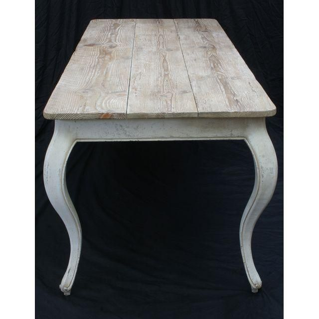 Image of Swedish White Painted Dining Table Natural Top