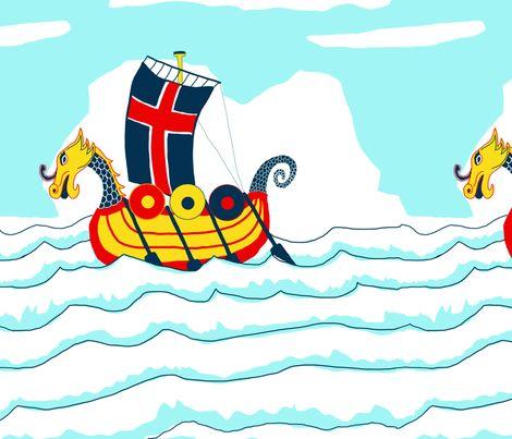 Sailing_Viking_Design-offset fabric by dansai_design on Spoonflower - custom fabric