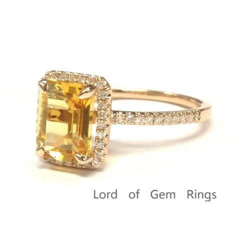 Emerald Cut Citrine Engagement Ring Pave Diamond Wedding 14K Rose Gold 6x8mm - Lord of Gem Rings - 2