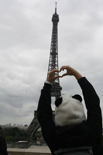 Who goes to the eiffel tower with a panda hat? Well....me