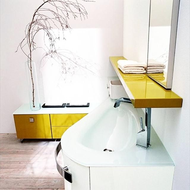 Мебель Birex для ванных комнат #bathroom #furniture #birex #yellow #style #салон_мебели #идеал_интерьер #арбатская