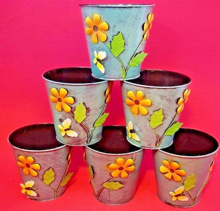 "6 x Large Colourful Metal Flower Plant Pots 6"" Planter retro vintage style chic"