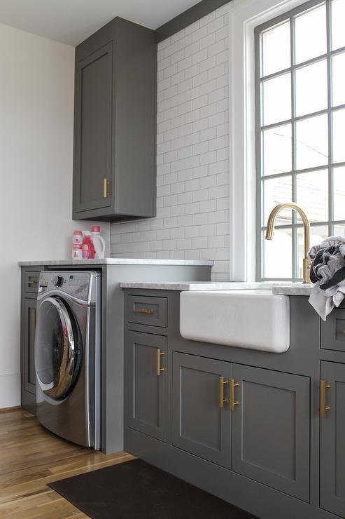 Charcoal gray laundry room #greenroom