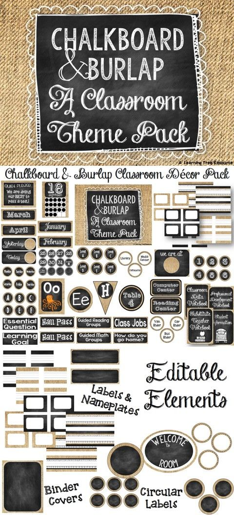 Everything you need to make a Chalkboard and Burlap themed classroom! PLUS- it's editable so you can customize it to fit your needs!