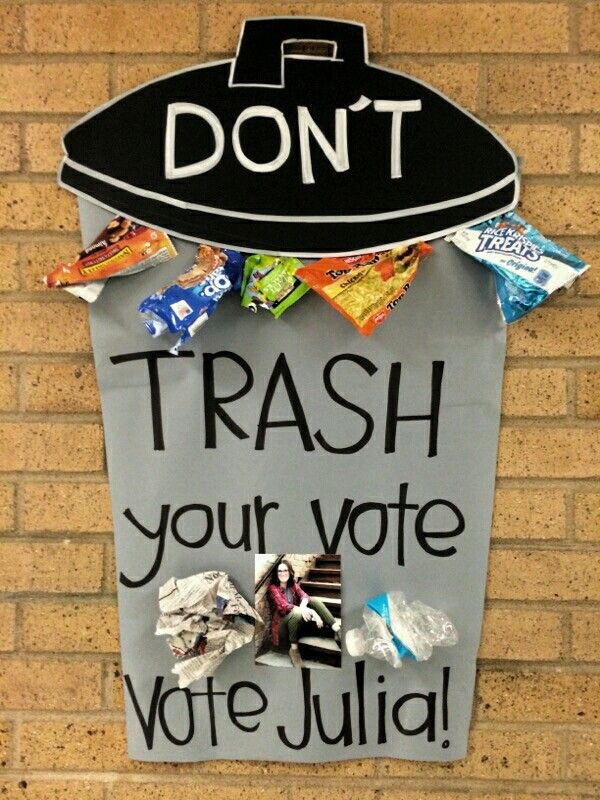 Student government / council poster.  Don't Trash your vote. Lid is a poster and can is paper found at zurchers for .16 cents a yard.
