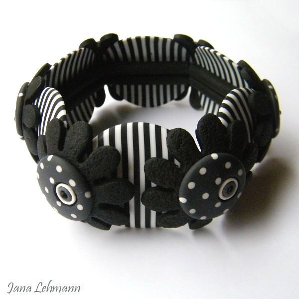 polymer clay bracelet with elastic band. #jewellery #bracelet #polymer #clay
