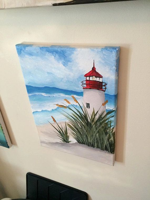 Beach Waves And Lighthouse Acrylic Painting On A By JMMPaintings