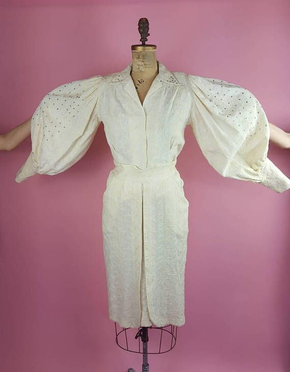 """Late 1940's / early 50s Ivory Embroidered Suit with Balloon Sleeves 