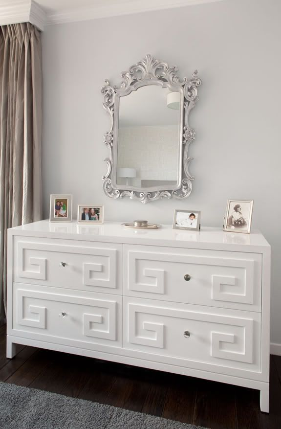Source: Artistic Designs For Living Website Beautiful Gray Walls Paint  Color, Ornate Silver Mirror, Glossy White Lacquer Greek Key Dresser, Gray  Wool Rug ...