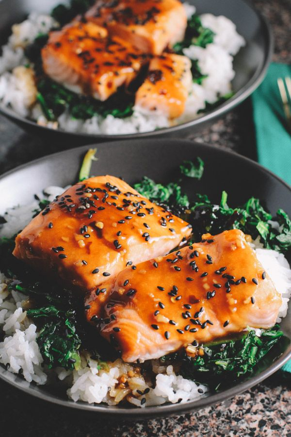 asian salmon and spinach rice bowls. I use fresh greens and like to cook with onion, garlic and ginger, finishing with a little low sodium soy sauce and rice vinegar. The sauce on the salmon is also great with ginger and scallion added. Rice or quinoa are great on the base.