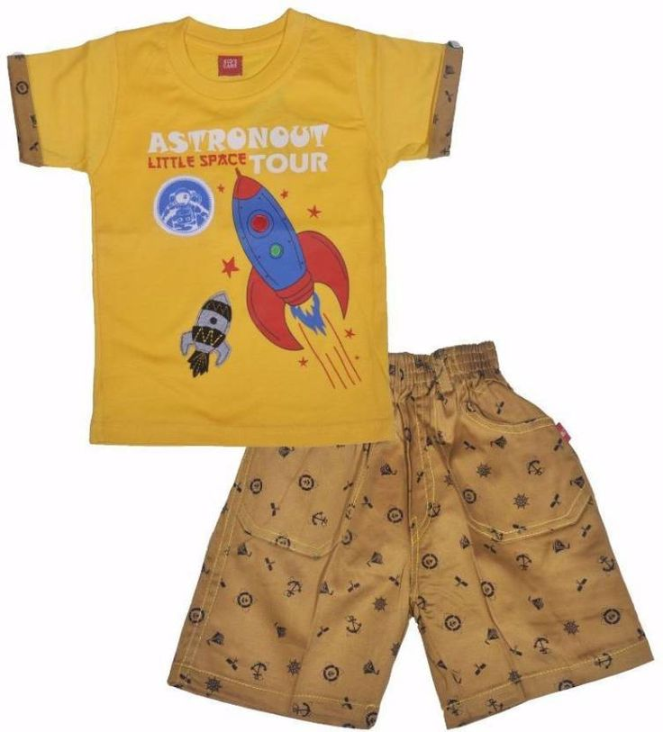 #Kid's Care #Boys #Casual #T-shirt Pant  (#Yellow)