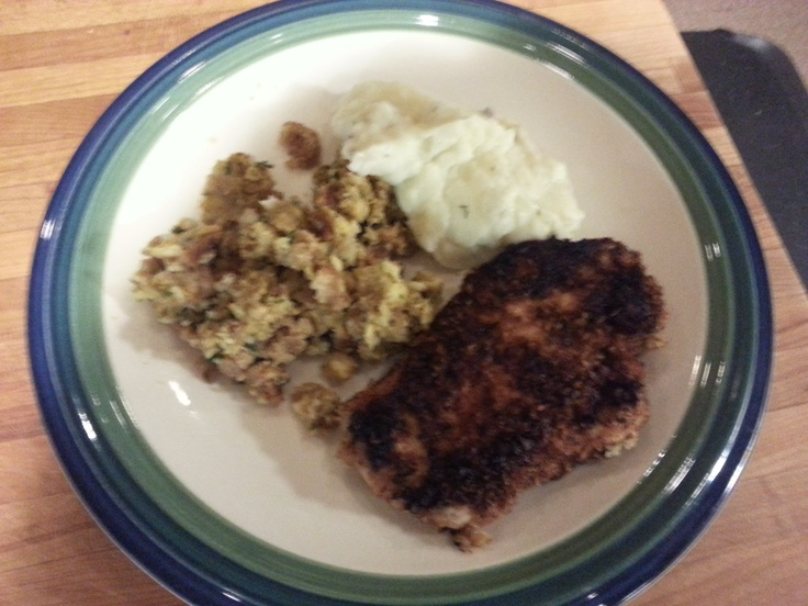 Panko fried porkchops with stuffing and garlic mashed potatoes...it's whats for dinner