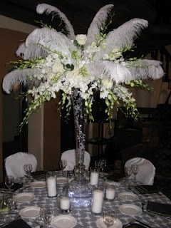 Ostrich Feather Centerpieces- Red, Black And White, 30% off ...