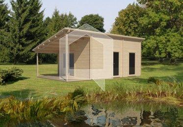 Przestrzeń wewnątrz domku podzielona w taki sposób, aby zaspokoić wszelkie wymagania. Ganek z daszkiem pozwoli ukryć się przed słońcem.