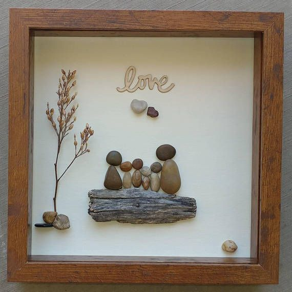 "Pebble Art Beach, Pebble Art Couple, Pebble Beach, Scenic Pebble Art, Anniversary Gift, unique pebble art, 8×10 ""open"" frame (FREE SHIPPING)"